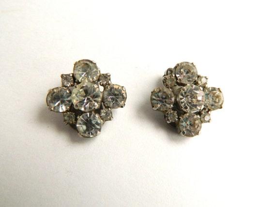 Vintage La Rel Crystal Rhinestone Clip-On Earrings