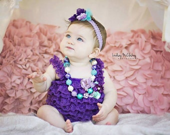 Birthday Cake Smash Outfit Girl Purple Lace Romper Headband Necklace SET Baby Pettiromper Baby Ruffle Romper Baby Outfit, Baby Photo