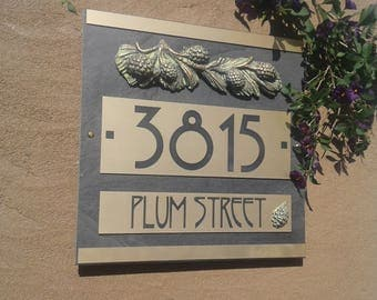 CRAFTSMAN House Numbers Pine Cone ADDRESS Plaque