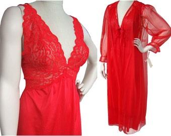 Vintage Red Peignoir Barbizon Negligee Lingerie Nightgown Two Piece Set NOS Deadstock - Sz S