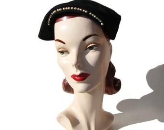 Vintage 50s Beret Hat Modernist Merrimac Black Felt Wool & Faux Pearl Trim