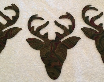 Set of 9 Cotton Fabric Deer Head Iron-On Appliques