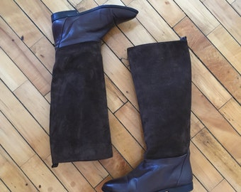 Vintage 80s two tone suede leather knee boots by Nina size 6 B