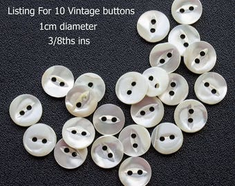 Small Natural White Vintage Mother of Pearl Shell Buttons Two Hole, Fish Mouth 1cm/3/8ths ins  diameter (lot 10 ) MOP Buttons Destash