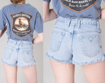 GUESS jean shorts HIGH WAIST frayed hem 90s daisy dukes Small / Xs better Stay together summer