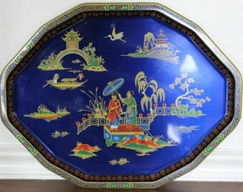 Daher chinoiserie tray, asian tray, metal tray large tray