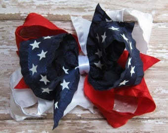 Large Triple Loop Satin Double Ruffle Hair Bow Red, White, and Navy Blue Patriotic July 4th Independence Day Boutique Hairbow