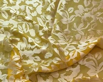 Burnout Devore Satin - Honey Mustard Yellow Hand Dyed Floral - 1 Yard