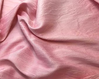 Hand Dyed BABY PINK Silk DUPIONI Fabric - fat 1/4