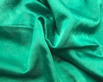 Hand Dyed Emerald Green - Silk and Cotton Blend SATIN Fabric - 1 Yard