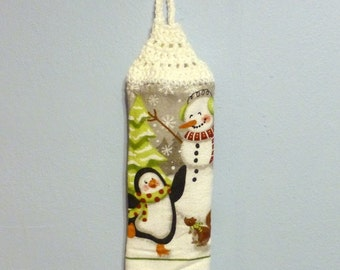 Looped Double Christmas Holiday Towel Hanging Crochet Top Snowman & Penguin