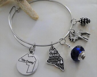 "Aroostook County Maine ""The County"" Expandable Bangle Charm Bracelet FREE SHIPPING"