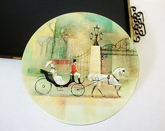 vintage candy tin round cookie gift box metal storage antique style with horse and buggy