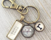 Personalized Keychain, Latitude Longitude Key Chain, Map Keychain, Custom GPS Coordinate, Inital Keychain, Gift For Him, Travel Keychain