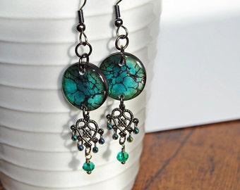 teal filigree mini earrings, chandelier earrings,blue green earrings,lightweight earrings