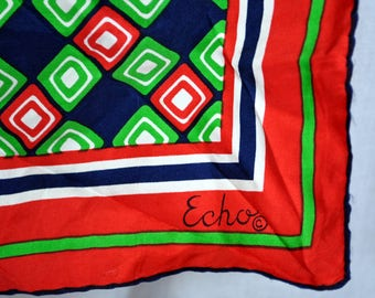 Vintage Echo Geometric Scarf - Red Green Black White - Squares and Stripes