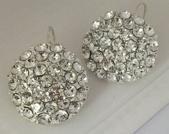 Brides , Bridesmaids Gift  Round Dangle Earrings ,Silver  Earrings