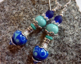 Blue Swirl and Aqua Earrings, Handmade Lampwork, Drop Dangle
