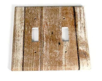 Double Switchplate  Light Switch Cover  Switch Plate in Whitewash (284D)
