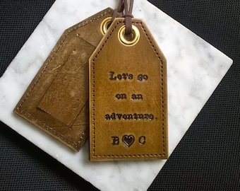 Personalized - Let's go on an adventure - leather luggage tag with privacy flap on reverse side - 3rd Anniversary