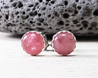 Simple Pink Tourmaline Stud Earrings Sterling Silver Posts 6mm