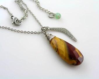 Mookaite and Boomerang Charm Necklace, Mookaite Jasper Necklace, Jasper Jewelry, Australian Seller, Australian Jewelry, Beaded Necklace