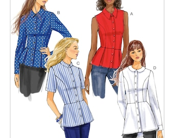Peplum Shirt Pattern ~ Butterick 6097 ~ Peplum Blouse ~ Sizes 8-14