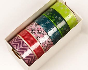 6 piece packs 10 Yards of Colorful Japanese Inspired Pattern Washi Tape Assortment