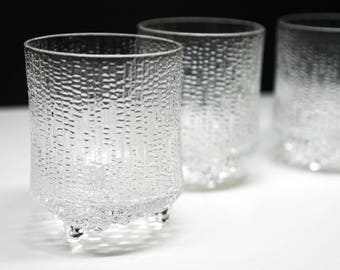 "Iittala Glass Ultima Thule Old Fashion Tumblers 3.5"" - Whiskey Glasses - Tapio Wirkkala set of 3 - Finland - Crystal"