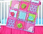 Literie - literie pour berceau Turquoise / vert / rose - chambre d'enfant lunatique - literie fille Rag Quilt-Mini berceau literie de bébé pour berceau fleuri
