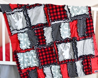 Lumberjack Nursery Baby Comforter - Black / Gray / Red Crib Bedding- Buffalo Plaid Rustic Nursery Decor - Red and Black Plaid Rag Blanket