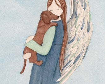 Brown shorthaired dachshund with Angel (profile) / Lynch signed folk art print (Weiner / Wiener Doxie)