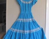 TURQUOISE MEXICAN Fiesta Senorita Frida Wedding DRESS Size S-M
