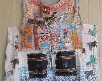 SANTA FE new MEXICO oversized smock tunic -  Collage Clothing Wearable Folk Art - Altered Artsy Artisan -Recycled Fabric Scraps - myBonny
