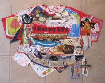 i love my life -  Patchwork Crazy Quilt - Altered Couture Assemblage Outsider FOLK ART Decor Fabric Collage Art - My Bonny