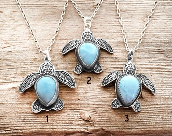 Sea turtle necklace, silver sea turtle jewelry, Larimar sea turtle necklace, Hawaii, Hawaii Wedding, Hawaii Anniversary, Honu, Maui