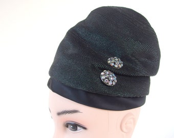 Vintage Tall, Black Slouch Toque Hat with Rhinestones