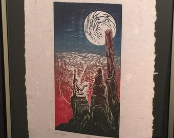 FRAMED 16X20 Original Color Woodcut Print Art Purple Blue Moon Woman in Yoga Pose in Desert Southwest Landscape