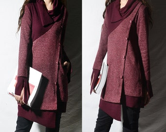 the reader asymmetrical knit tunic dress / deconstructed knit tunic /  patchwork knit dress / gray winter sweater / burgundy tunic (Y1673u)