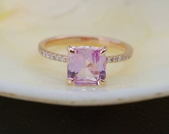 Pink sapphire ring. Engagement ring. Anniversary ring. Peach Pink Sapphire ring. 2.12ct radiant cut sapphire 14k rose gold diamond ring.
