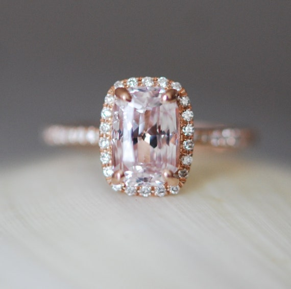 Ice peach champagne sapphire 14k rose gold diamond ring engagement ring 2.58ct cushion sapphire