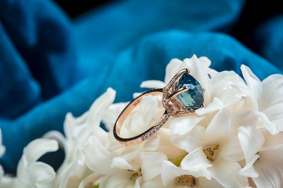 Engagement ring Teal sapphire ring Turqoise Blue Green sapphire ring 6.01ct Blue Green Sapphire cushion engagement ring 14k rose gold ring