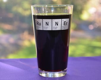 Engraved RuNNEr Periodic Table Glass, Personalized Runners Birthday Gift, Marathoner's Gift, Math/Science Teacher Gift, Engineer Gift