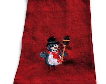 Embroidered Linen Dish Towel Snowman Red Kitchen Towel Guest Towel Tea Towel Hand Towel