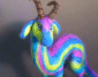 Animal Totem, Spirit Guardian, Nature Dragon- Made to Order- Needle Felted Fantasy Sculpture