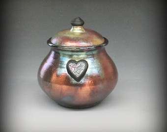 Raku Urn with Heart in Metallic and Iridescent Colors