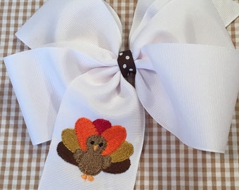 Embroidered Turkey Hair Bow Big Bow Boutique Accessory Thanksgiving