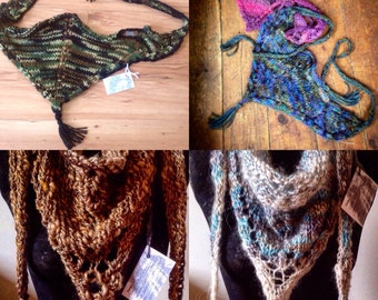 Demeter, Freya, Artemis & Isa - handspun handknitted cabled lace triangle shawlettes with tassels - vegan, lambswool, mohair, merino/silk
