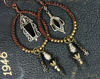 Sterling Silver, Onyx, Bead Wrapped Asymmetrical Vintage Assemblage Rustic Earrings