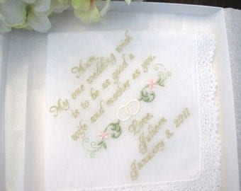 Personalized Mother of the Bride Weddihng Handkerchief with Wedding Ring Swag